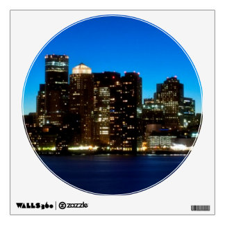 Boston skyline with moon wall decal