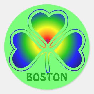 Boston St. Patrick's Day Shamrock Rainbow Classic Round Sticker