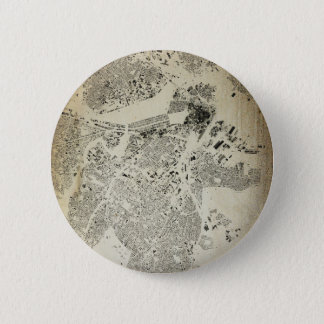 Boston Streets and Buildings Map Antic Vintage Button
