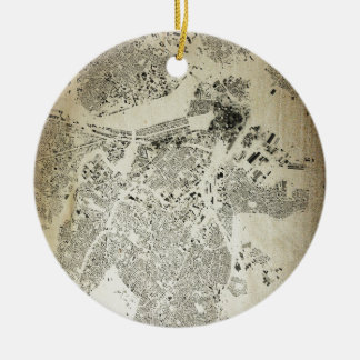 Boston Streets and Buildings Map Antic Vintage Ceramic Ornament