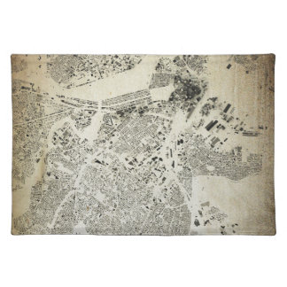 Boston Streets and Buildings Map Antic Vintage Cloth Placemat