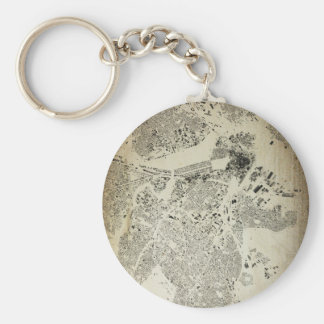 Boston Streets and Buildings Map Antic Vintage Keychain