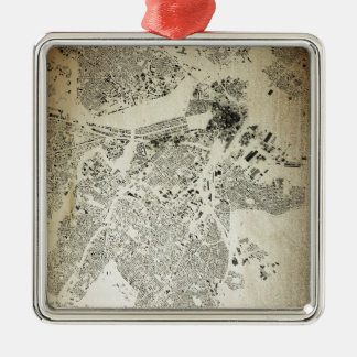 Boston Streets and Buildings Map Antic Vintage Metal Ornament