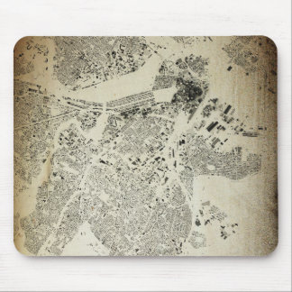 Boston Streets and Buildings Map Antic Vintage Mouse Pad