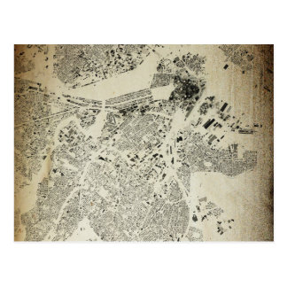 Boston Streets and Buildings Map Antic Vintage Postcard