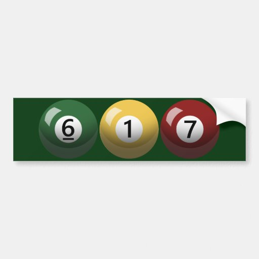 Boston strong 617 billiards bumper sticker zazzle 01794 area code