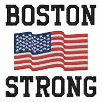 Boston Strong American Flag Embroidery Embroidered Hoody