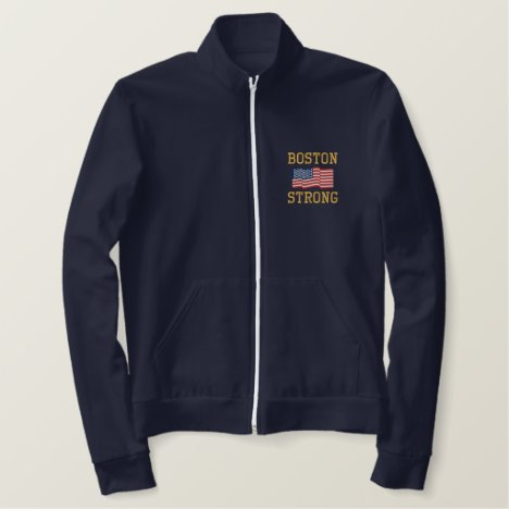Boston Strong American Flag Embroidery Embroidered Jacket