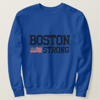 Boston Strong American Flag Embroidery Embroidered Sweatshirt