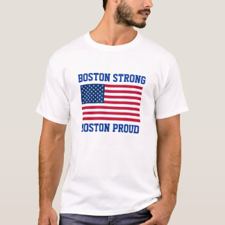 Boston Strong and Proud Patriotic American Flag T-Shirt