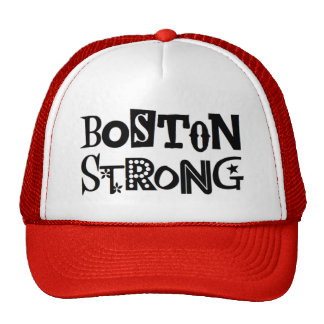 Boston Strong Ball Cap, red and white Trucker Hat