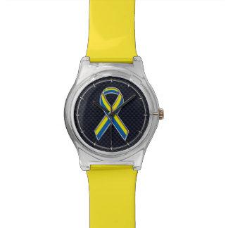 Boston Strong Chrome Style Ribbon Decor Wristwatch
