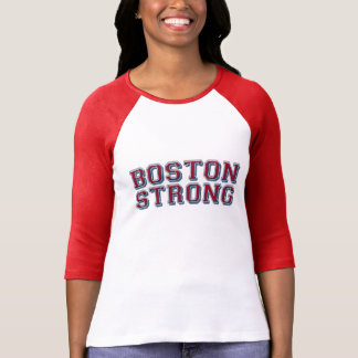 Boston Strong Embossed Red Style Tee Shirt