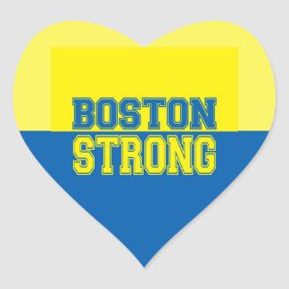Boston Strong Gift Yellow and Blue Heart Sticker