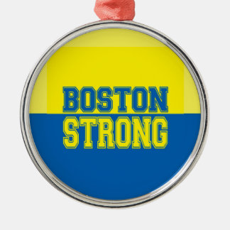 Boston Strong Gift Yellow and Blue Metal Ornament
