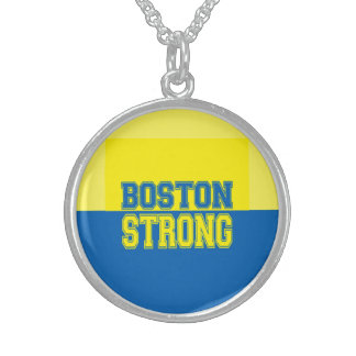 Boston Strong Gift Yellow and Blue Round Pendant Necklace
