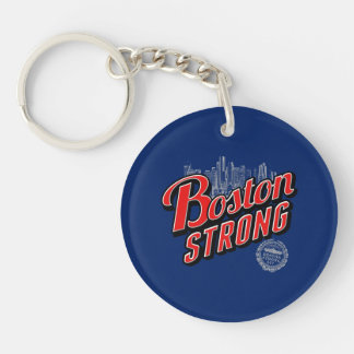 Boston Strong in red and blue decor Keychain