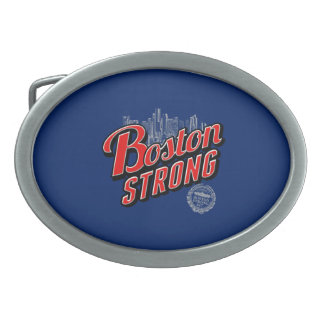 Boston Strong in red and blue decor Oval Belt Buckle
