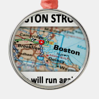 Boston Strong Map Metal Ornament