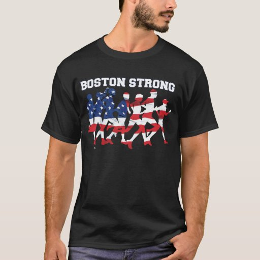 Boston strong running marathon american flag t shirt zazzle for Boston strong marathon t shirts