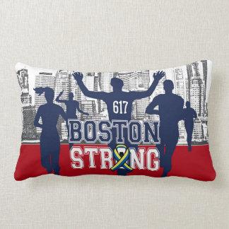 Boston Strong Spirit Runners on Red Lumbar Pillow