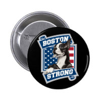 BOSTON STRONG TERRIER 2 INCH ROUND BUTTON