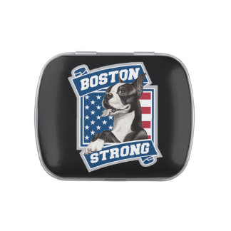 BOSTON STRONG TERRIER crest style Jelly Belly Tin