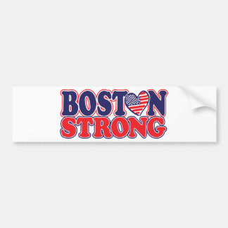 Boston Strong With Amricah Heart Bumper Stickers