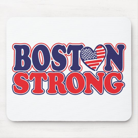 Boston Strong With Amricah Heart Mouse Pad