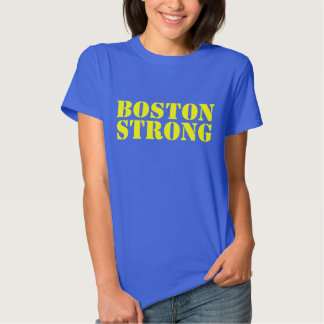 BOSTON STRONG Yellow And Blue Stencil T-shirt