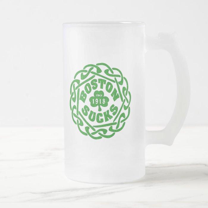 BOSTON SUCKS 1918 CELTIC FROSTED GLASS BEER MUG