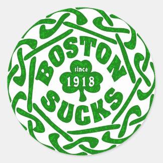 BOSTON SUCKS 1918 CELTIC ROUND STICKERS