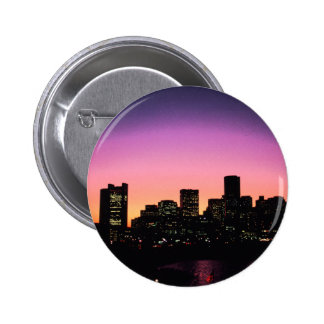 Boston Sunset Skyline From The Harbor .png 2 Inch Round Button
