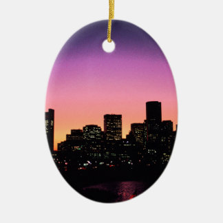 Boston Sunset Skyline From The Harbor .png Ceramic Ornament