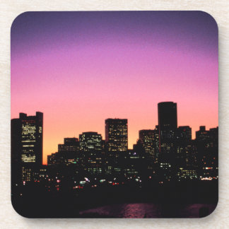 Boston Sunset Skyline From The Harbor .png Coaster