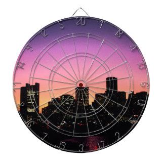 Boston Sunset Skyline From The Harbor .png Dart Board