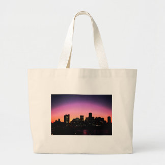 Boston Sunset Skyline From The Harbor .png Large Tote Bag