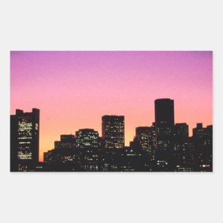 Boston Sunset Skyline From The Harbor .png Rectangular Sticker