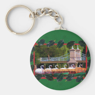 Boston Swan Boats for the Holidays Keychain