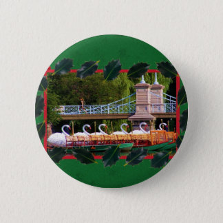 Boston Swan Boats for the Holidays Pinback Button