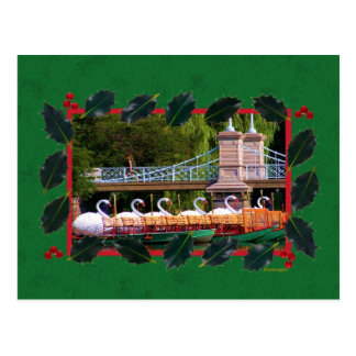 Boston Swan Boats for the Holidays Postcard