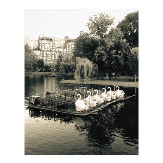 Boston Swan Boats In Black and White Letterhead
