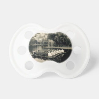 Boston Swan Boats In Black and White Pacifier
