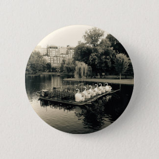 Boston Swan Boats In Black and White Pinback Button