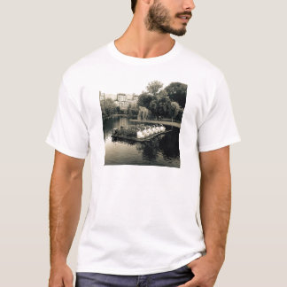 Boston Swan Boats In Black and White T-Shirt