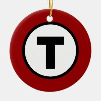Boston T - Navidad T de O Adorno Redondo De Cerámica