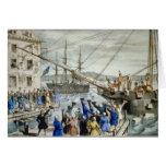 Boston Tea Party Card, Nathaniel Currier Card