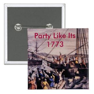 Boston_Tea_Party_Currier_colored, fiesta tiene gus Pin Cuadrada 5 Cm