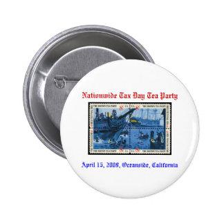 Boston tea party mint stamp Nationwide Tax Day Pinback Buttons