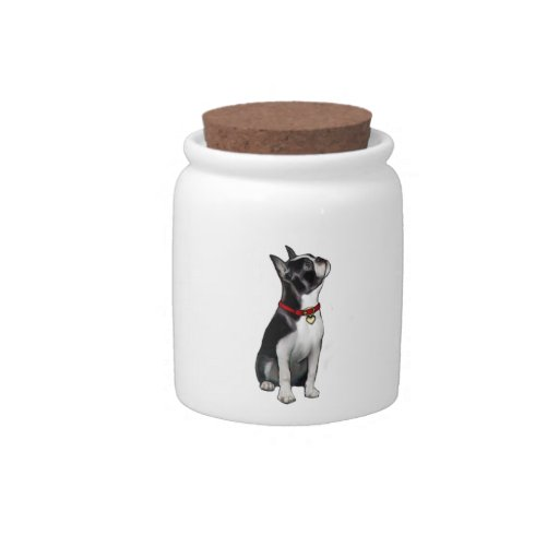 Boston Terrier (A) - looking up Candy Dish